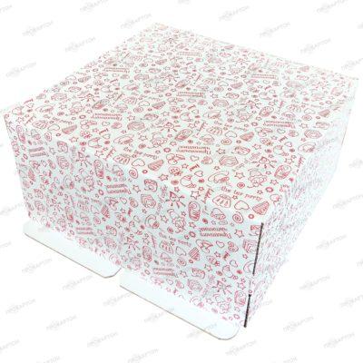 Коробка для торта 400х400х150мм с рисунком