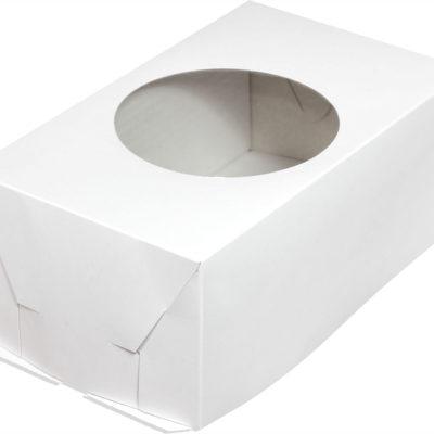 Коробка для торта прямоугольная с круглым окном