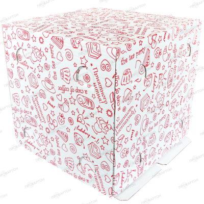 Коробка для торта 290х290х270мм с рисунком